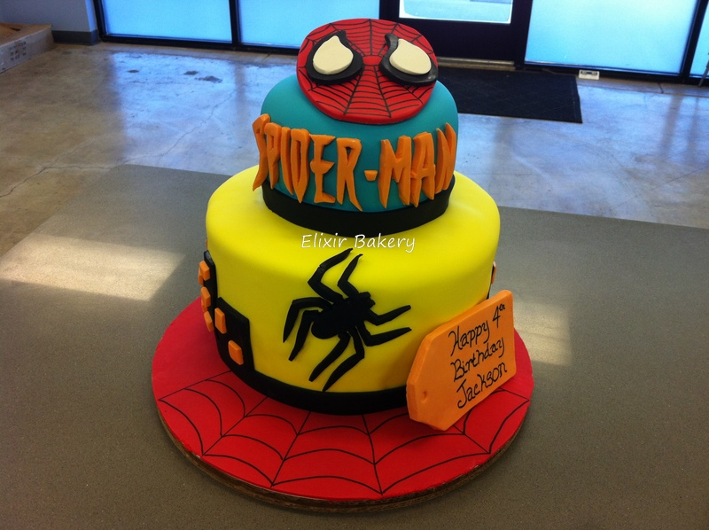 Spiderman 2 tier cake